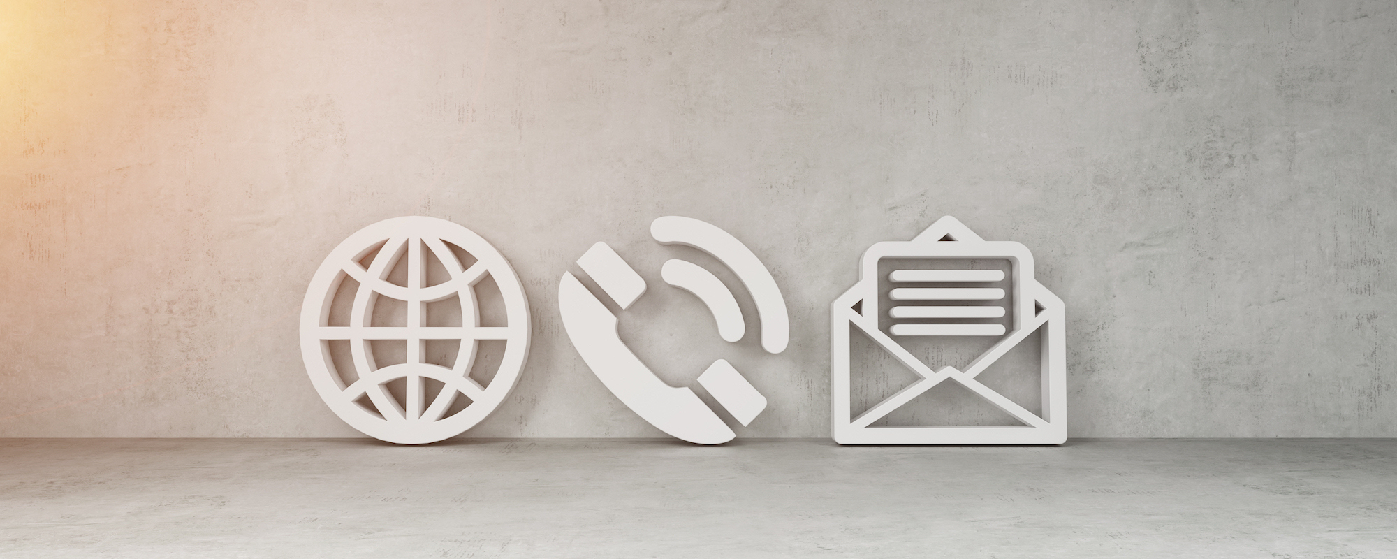 Big contact icons in bright concrete wall interior 3D rendering